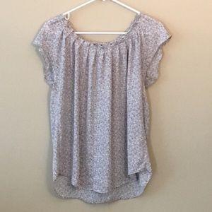 LC Lauren Conrad Short Sleeve Blouse Gray sz m